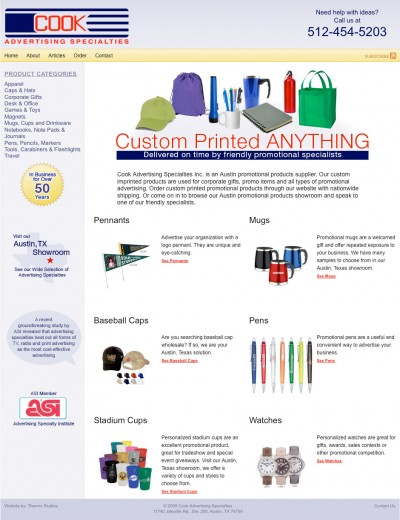 web design for promotional products